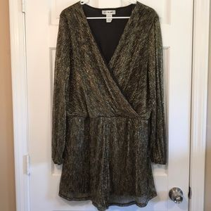 Black and Gold Long Sleeve Romper- New Without Tag